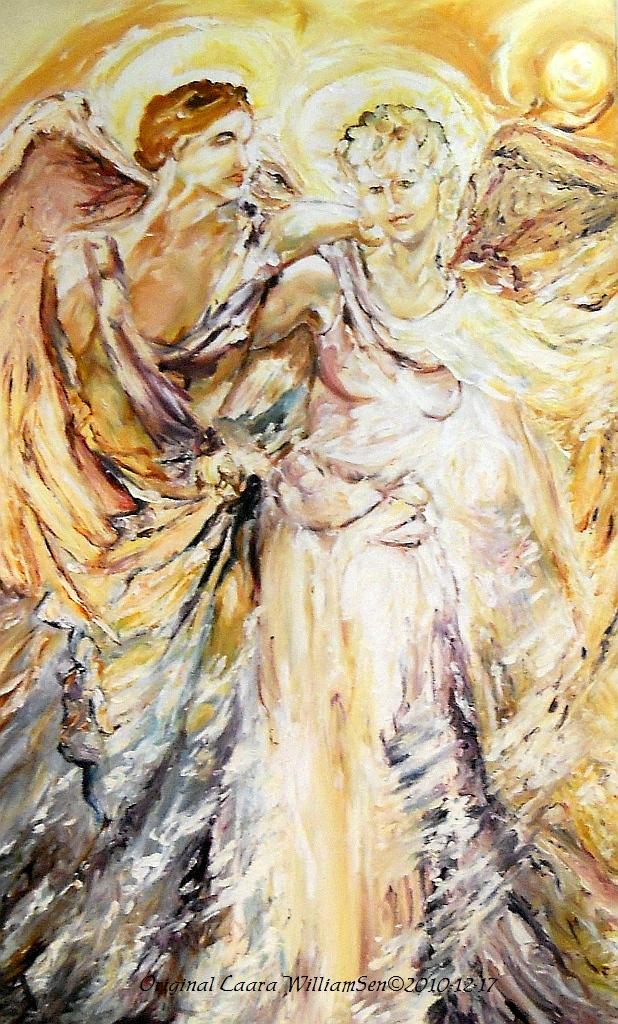 """Original painting, """"Angels Emerging"""" by Laara WilliamSen 1998"""