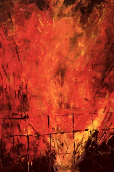 ELEMENTS - Fire 16 Original acrylic painting 24 x 36 inches by Laara WilliamSen (c) Copyrighted 2013 All Rights Reserved