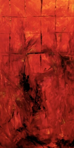 ELEMENTS - Fire 2 Original acrylic painting 18 x 36 inches by Laara WilliamSen (c) Copyrighted 2013 All Rights Reserved