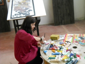 It was a joy to meet my Linked in friend Kanwal Zafar in person and share studio space with her!