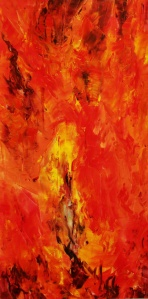 THE ELEMENTS Fire #1 Original Acrylic 18 x 36 by Laara WilliamSen 2013 (c) Copyrighted. All Rights Reserved