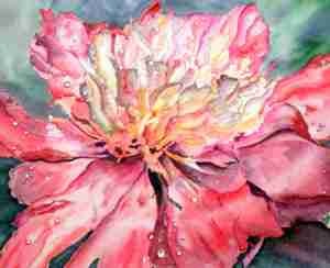Peony in the Rain Original watercolor donated to International Art Cafe Auction for Charity, Flordia, USA by LEAH SEABROOK, Canadian painter, Quesnel, B.C., Canada 2014 (c) Copyrighted All Rights Reserved