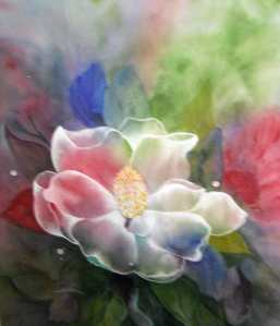Crop of Original painting on Rice Paper KASANDRA BARDELLL, Canadian Painter, Vernon, B.C., Canada 2014 (c) Copyrighted All rights reserved