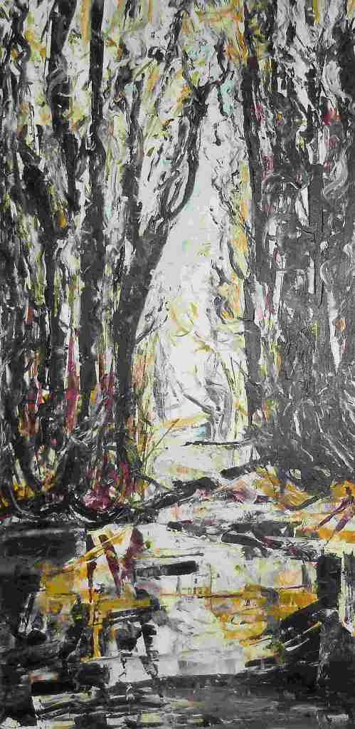 BEAVER POND Original acrylic 30 x 60 inches Laara WilliamSen 2014 (c) Copyrighted All rights reserved  Collection of Leah Seabrook, Quesnel, B.C. Canada