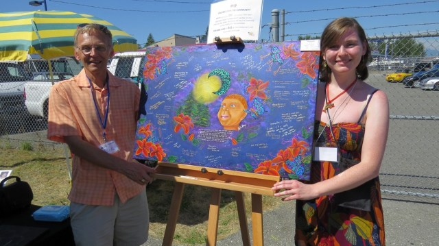 Rick Hart President of Fleetwood Community Association with Ashley Jackson Canadian Painter COMMUNITY PAINTING 24 x 36 inches