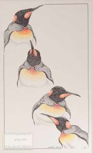 Pointillism Emperor Penguin - ORIGINAL ARTWORK  by Kevin Jordan 13 x 17 Framed (c) Copyrighted All Rights Reserved