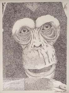 Pointillism Chimp- 14x18 Framed- Sold ORIGINAL ARTWORK by Kevin Jordan (c) Copyrighted All Rights Reserved