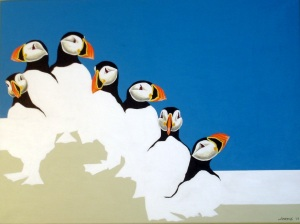 Puffins- 23.5x 31.5 ORIGINAL ARTWORK by Kevin Jordan (c) Copyrighted All Rights Reserved