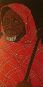Masai Herdsman- 18x36 ORIGINAL ARTWORK by Kevin Jordan (c) Copyrighted All Rights Reserved