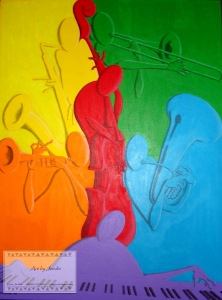 Color Me Jazz- 23x31- Sold ORIGINAL ARTWORK by Kevin Jordan (c) Copyrighted All Rights Reserved